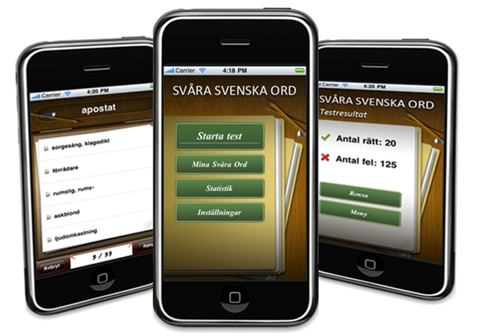 Svenska svåra ord - iphone applikation